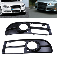 Left & Right 1 Pair Black Car Front Bumper Sport Grille Grill With Fog Light Cover For Audi A4 B7 Car Auto Lower Parts(China)