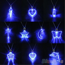 LED Blue Magnetic Light Charm Pendant Necklace Xmas Christmas Birthday Dancing Party For Men Women Girl Boy 00ZB