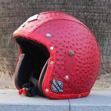 L's Retro design Motorbike Helmet Custom design Motorcycle Helmet Harley Helmet with Leather covered(China)