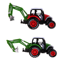 Alloy Car Toy Bulldozer Farm Model Vehicle Alloy Tractor Truck Toy Harvesters Trailer Kids Birthday Gifts Green, Red