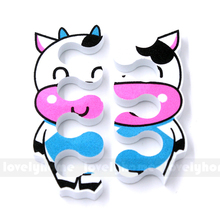 2 pcs/ pair Lovely Nail Art Soft Finger Toe Separator Cartoon Pattern Pedicure Manicure Tools Cute Cow Candy