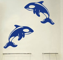 Limited 2pcs/lot Cartoon Dolphin Wall Sticker Children Room Kitchen Cabinet Home Decoration For Kids Poster Refrigerator(China)