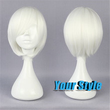 30cm Cheap Short Pixie Cut Hairstyles NARUTO BLEACH  Synthetic Short White Cosplay Wigs Anime Short Haircuts Straight Hair