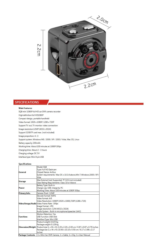 Infrared Night Vision Motion Sensor DV Digital Small Video Camcorder Mini DV Camera SQ8 Mini Camera Full HD 1080P Voice Recorder