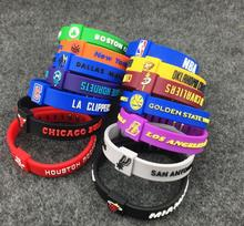 Basketball bracelet silicone sports adjustable Wristband Basketball star team warrior knight rocket spurs sports Wristband(China)