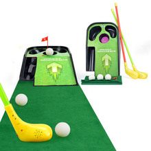 Wholesale 12set/lot Kids Mini golf practice sets flash sounding vibration golf ball toy child sport Golf clubs carpet ball set