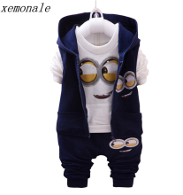 Brand Boys Girls Baby 1-4 Yellow 3piece Suit Kids Clothes Despicable Me 2 Minion Children's Clothing Long-sleeved Tracksuits