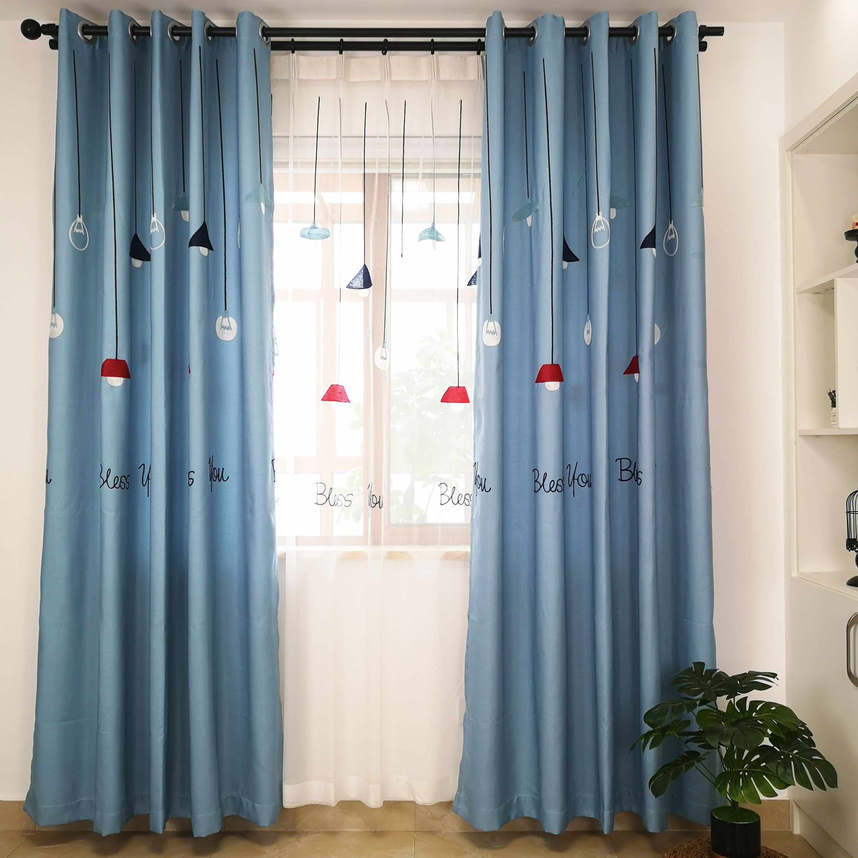 Slow Soul Light Cartoon Modern Embroidered Curtain Curtains For Bedroom Kids Room Children Blue Grey Window Bed Kitchen Living