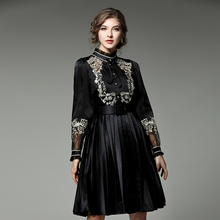 Sweet Princess Mini Dress Female Spring Summer 2017 Long Sleeve Patchwork Gold Embroidery Black Belt Fashion New Pleated Dress