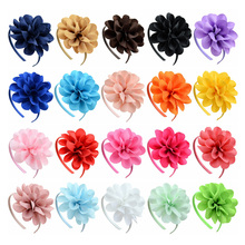 20pcs/lot Solid Grosgrain Ribbon Big Flowers Hairbands Princess Hair Accessories Plastic Hairband Girl Hairbands With Bows 701(China)