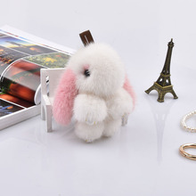 Girl mini 12cm rabbit keychains real mink fur bunny keychain fur key chains bags bunnies trinket pompon fur hare  phone pendant