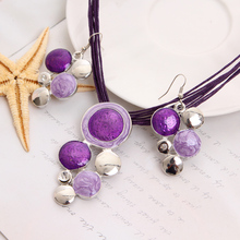 Graceful Purple Pendant Necklace Earring For Lady Beautiful Zinc Alloy Jewelry Set For Wedding New Design Accesory
