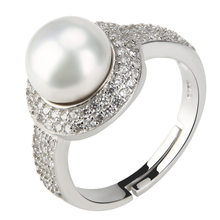CLUCI Fashion Classic Adjustable Rings for Women Pearl and zircons Engagement Love Ring Jewellery