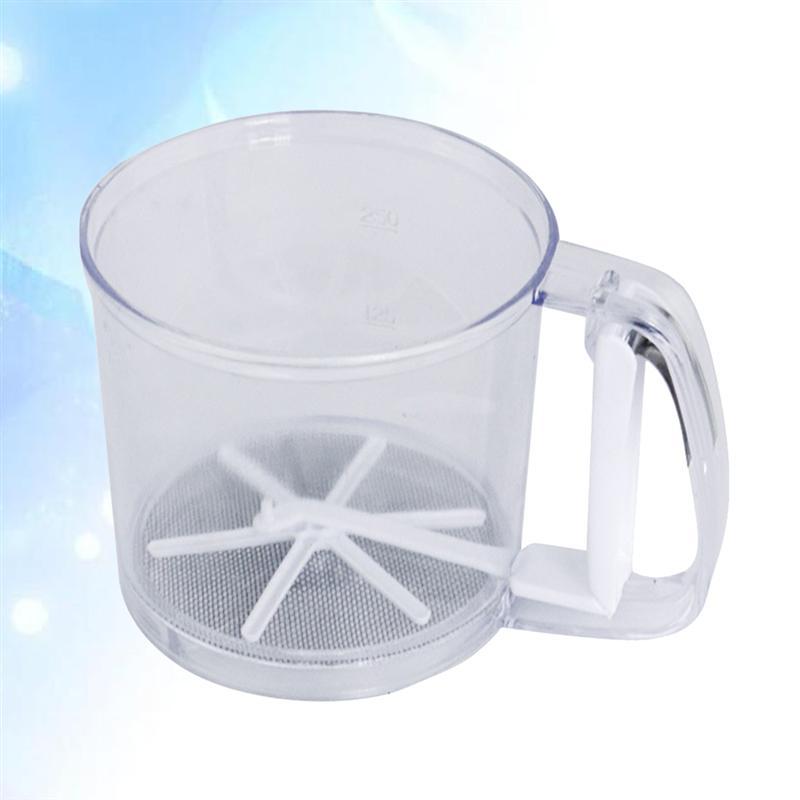 asdasdsda Creative Pressing Type Hand-Held Cup Flour Sifter Cup Plastic Shaker Sugar Powder Kitchen Baking Tools Cake Flour Sieve Fine Mesh Filter Flour Sieve Strainer