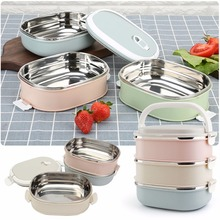 Mayitr Stainless Steel 3 Tier Bento Lunch Box Portable Insulated Thermal Food Container Food Warmer lunchbox Bento High Quality(China)