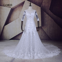 LORIE Vestido De Casamento Com Renda Short Sleeve Lace Wedding Gowns Luxury Lace-Up Lvory Wedding Dress 2017 Bridal Gown(China)