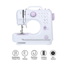 Electric Sewing Machines 12 Stitches Mini Sewing Machine 505A Knitting Machine Multifunction Electric Replaceable Presser Foot(China)