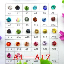 [A1-A17] 9 Sizes Point back nice Colors glass Crystal rhinestone beads Glue on Round shape handimade Craft ornament diy trimming(China)