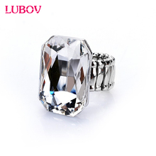 2018 Personality Elegant Big Ring for Women Big Glass Stone Fashion Elastic Stretch Finger Rings Jewelry Christmas Gift 7 Color(China)
