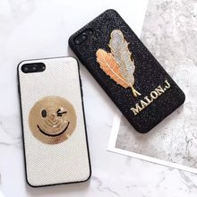 NECONO New Sequins Smiling Face Feather Embroidery Case For iPhone X 8 7 6 6s Plus Fashion Luxury Glitter Cortex Cover Coque(China)