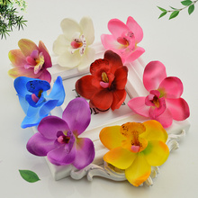 5 pcs 6cm Silk Butterfly Orchid Artificial Flowers Head For Wedding Car Decoration Orchs Mariage Flores Cymbidium Flower Plants(China)