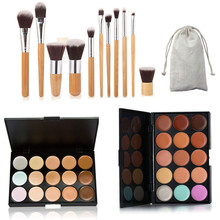 15 Colors Cosmetic Contour Face Cream Makeup Concealer Powder Eyeshadow Palette 11 Pcs Bamboo Brush Set