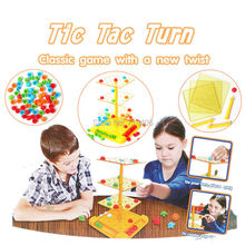 Classic game with a new twist Tic Tac Turn smart&educational game,family kid-parent chess compete toys,spin play 4-in-a-row win(China)