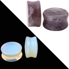 1 Pc Punk Nature Stone Ear Plugs Tunnel 6-16mm Organic Cymophanite Earring Gauges Ear Piercing Ear Flare Flesh Expander 3 Color