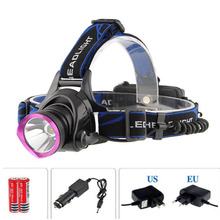2000 Lumens C-XM-L XML T6 LED Headlamp Headlight Flashlight + Rechargeable Hiking Camping Headlight + Car Charger + Charger(China)