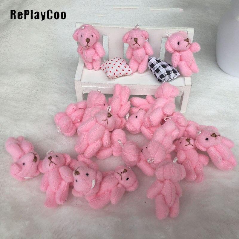 LOT10 Mini Joint Teddy Bear Bare Joint Bear Doll Cartoon Plush Stuffed Toys4.5CM