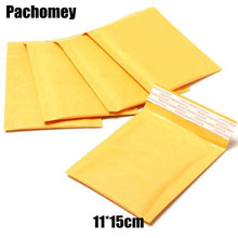 Packaging 11*15CM Mailing Bags Yellow Kraft Bubble Mailer International Transportation Post Bubble Packing Bag PP586(China)