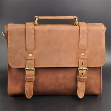 2017 Foreign Trade Import Men Brown Retro Crazy Horse Leather Men Business Briefcase 13 Inches Big Capacity Laptop Bags