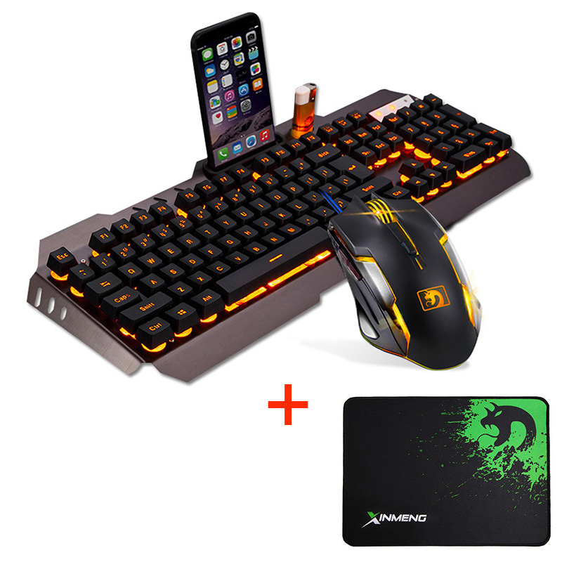 Wired LED Backlit Multimedia Ergonomic Usb Gaming Keyboard Mouse Combo illuminated 2000DPI Optical Gamer Mouse Sets + Mouse Pad(China)