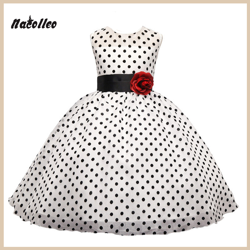 New 2017 fashion Princess Summer Girl Dress Classic White Black Polka Dots Children Dresses For Little Girl Tutu Dresses<br><br>Aliexpress