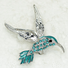 Blue Rhinestone Enamel HummingBird Pin brooches C099 T