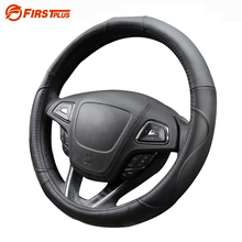 38cm Genuine Leather Breathable Car Steering Wheel Cover Automotive Sporty Curves Styling For BMW Nissan Hyundai Kia Universal(China)