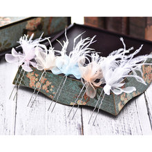 Handmade Bride Silk Yarn Feather Hairpin Bridal Hair Ornaments Long Hair Headband Wedding Party Headdress Flower(China)