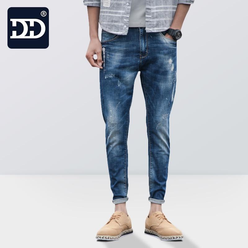 Dingdi Jeans 2017 Summer Fashion New Jeans Men Cotton Elastic Breathable Casual Denim Pants For Men Slim Fit skinny Jeans MaleÎäåæäà è àêñåññóàðû<br><br>