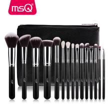 MSQ Pro 15pcs Makeup Brushes Set Powder Foundation Eyeshadow Make Up Brushes Cosmetics Soft Synthetic Hair With PU Leather Case(China)