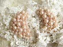 pearl beaded Applique, shoulder armor, rhinestone couture alter beading applique, 2 pcs, LH004