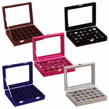 Hot Sale 24 Slots Velvet Women Desk Jewelry Storage Box Portable Ring Necklace Jewelry Carrying Case Women Home Storage 5 Colors(China)