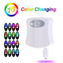 Sensor Toilet Light 8/16 Color LED Battery-operated Lamp lamparas Human Motion Activated PIR Automatic RGB LED Toilet Nightlight