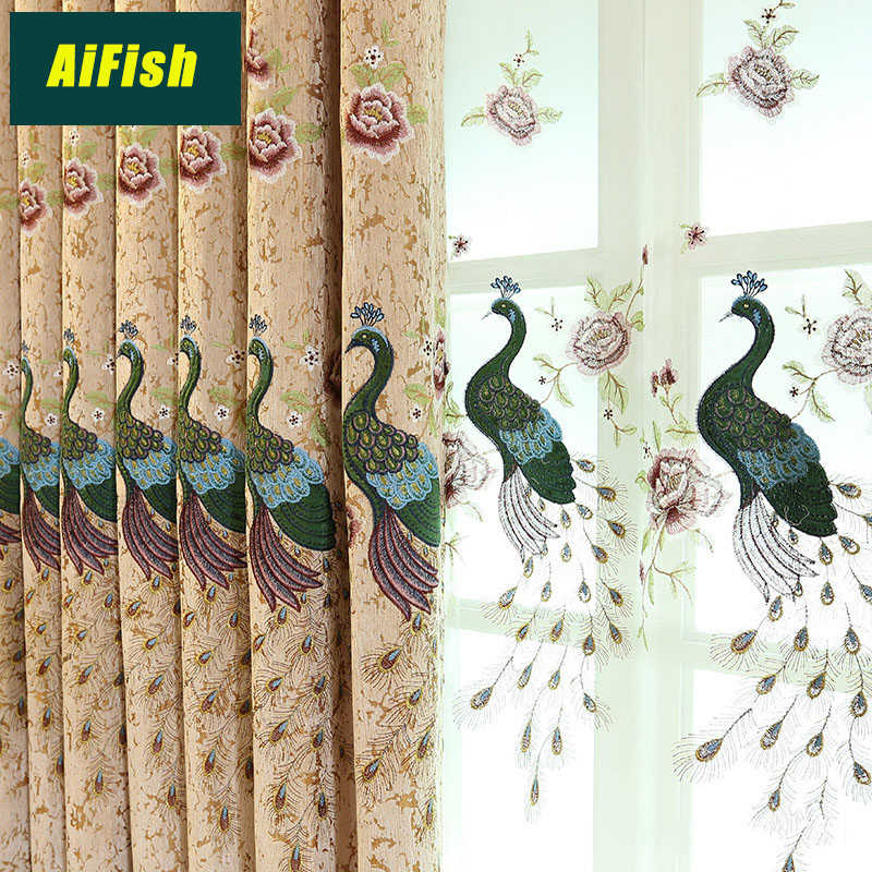 European and American peacock embroidery blackout window curtains for bedroom living room finished tulle curtain TM19&3