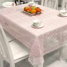 1 Piece Translucent Rural Lace Tablecloth/ White and Pink Tea Table Cloth/ European Glass Yarn Embroidery Table Cloth