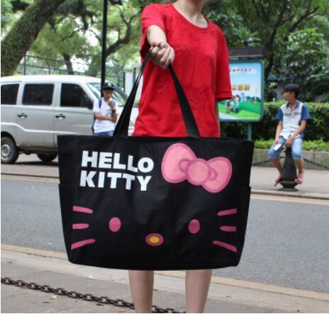 Super package !!! Cartoon new listing large capacity canvas bag Hello Kitty portable folding shoulder zipper bag<br><br>Aliexpress