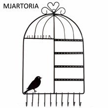 MJARTORIA Wall Hanging Pink Promotional Bird Cage Frame Earring Jewelry Display Rack Stand Holder Jewelry Metal Base Case(China)