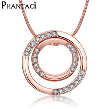 Double Circle CZ Crystal Choker Necklaces&Pendants Rose Gold Snake Chain Zircon Round Pattern Collar Necklace For Women Jewelry