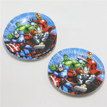 10Pcs/lot 7 inch Lovely Paper Plates Avengers alliance for Valentine Birthday Wedding Nursery Party Tableware Party Supplies