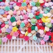 Min order $10 mixcolour resin rose flower,15mm 100pcs resin flower Mixed colors Flowers Cabochons Cameo free shipping DIY198(China)