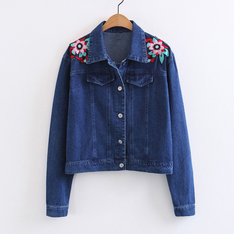 Embroidered Denim Jacket For Women Flower Fashion Jeans Coats